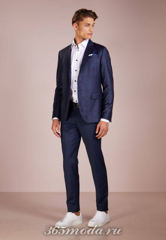Модные мужские синие костюмы весна-лето 2018