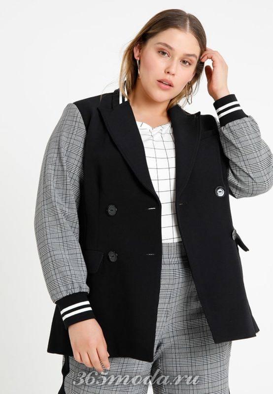 Черная куртка с серыми рукавами