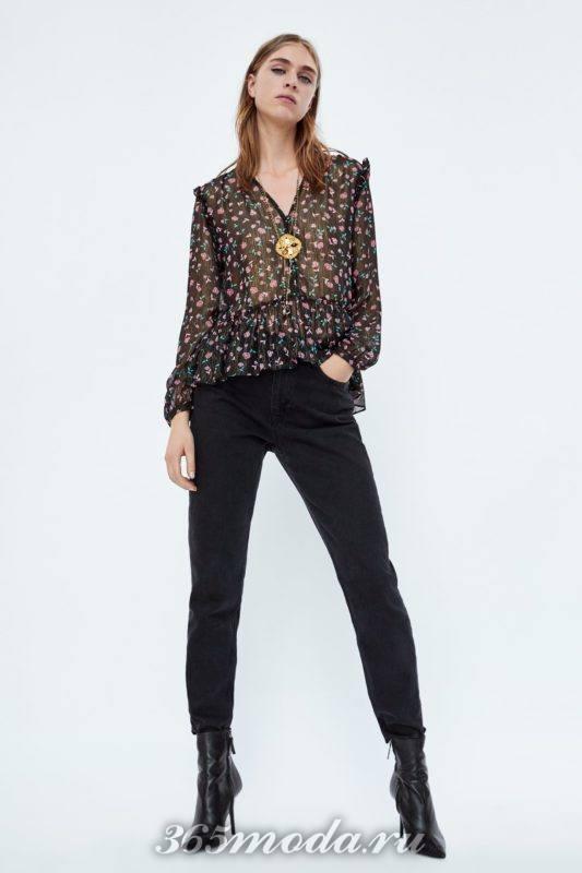 Блуза с цветочным принто
