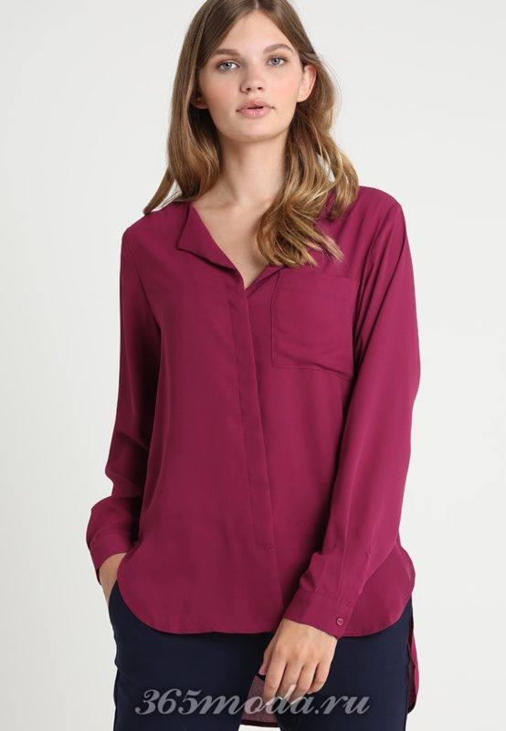 Деловая бардовая рубашка