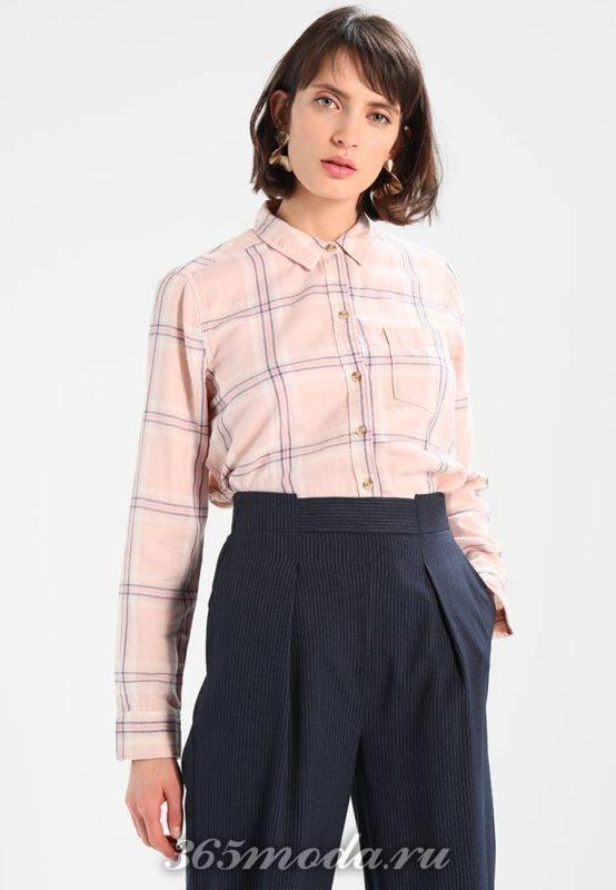 Деловая розовая рубашка