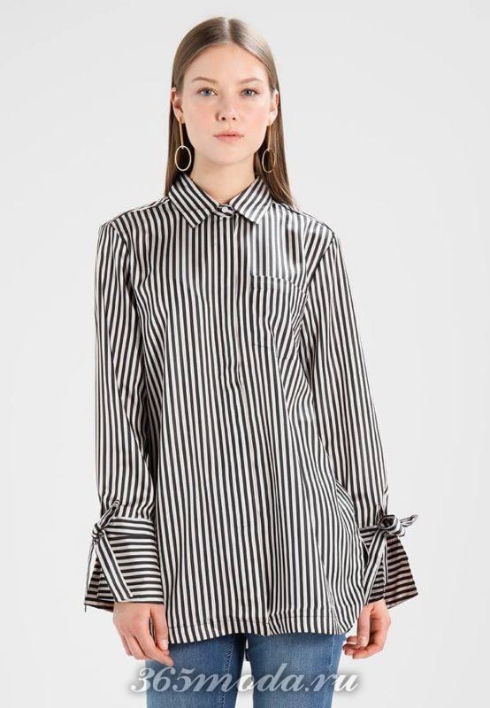 Деловая черно-белая рубашка