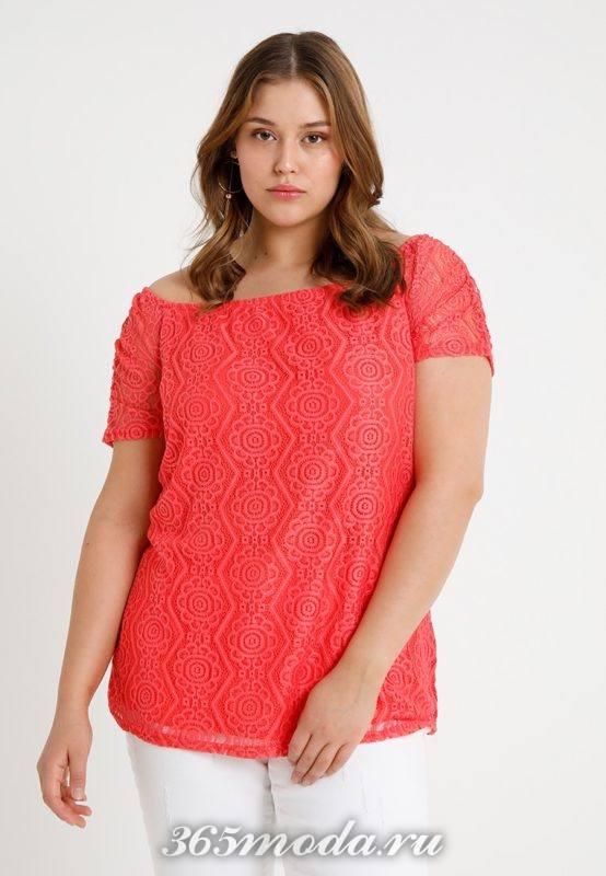 Розовая кружевная блузка
