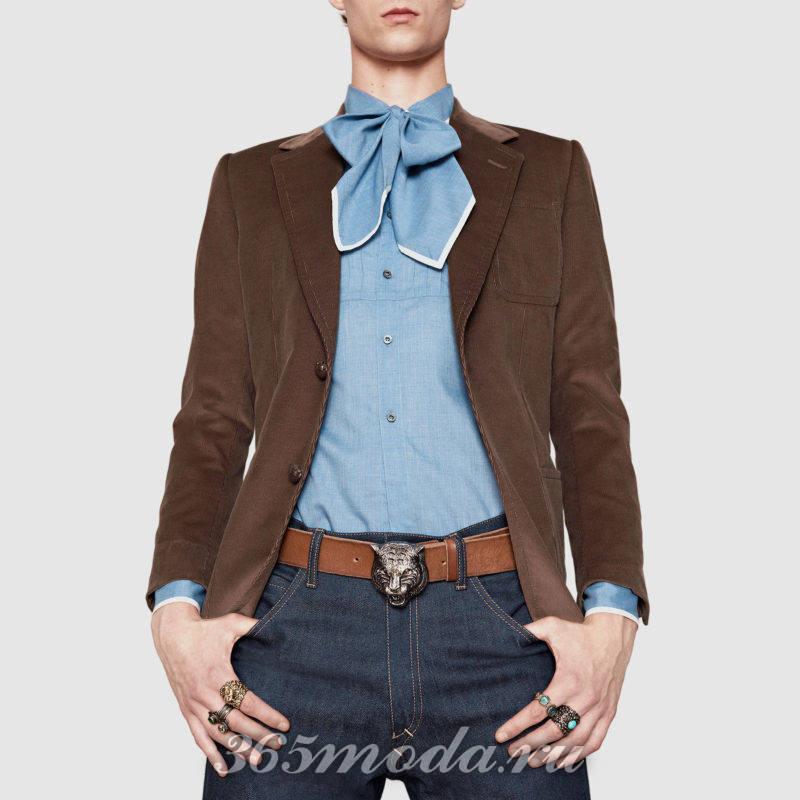 Рубашка голубая с шарфиком