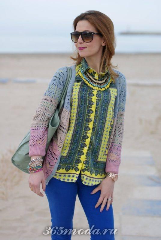 Рубашка цветная с шарфиком
