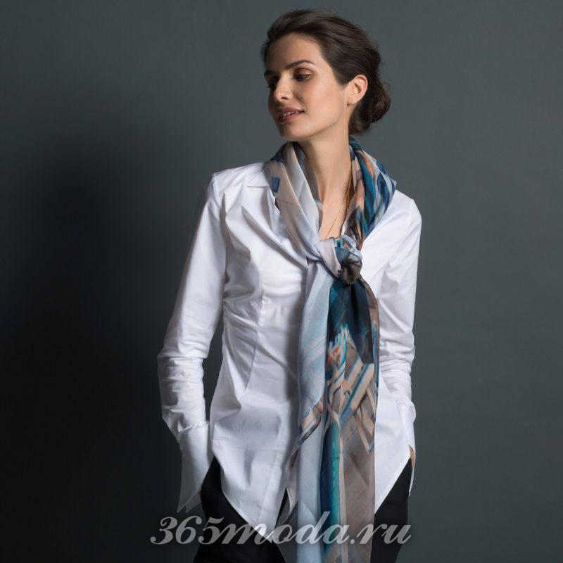 Рубашка белая с шарфиком