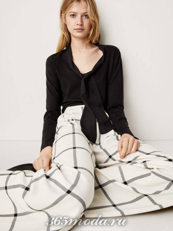Рубашка черная с шарфиком
