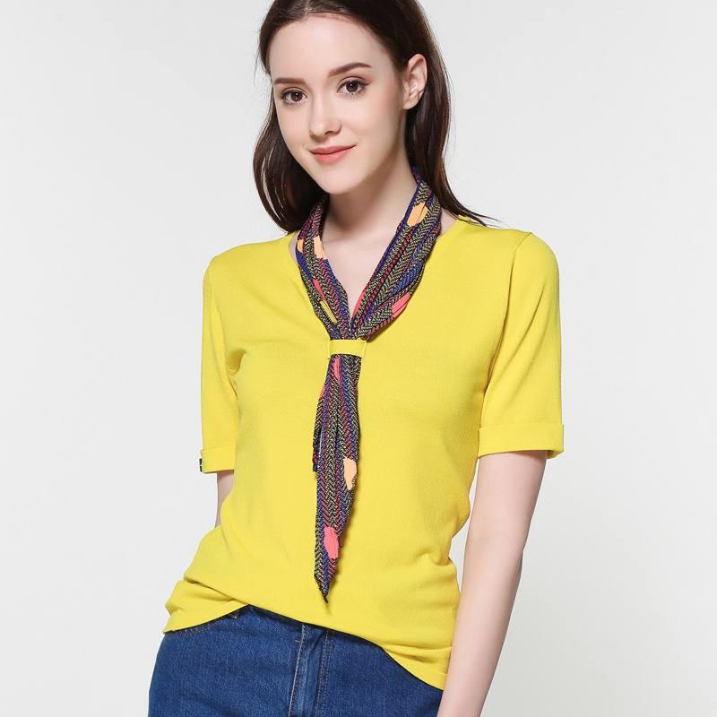 Рубашка желтая с шарфиком