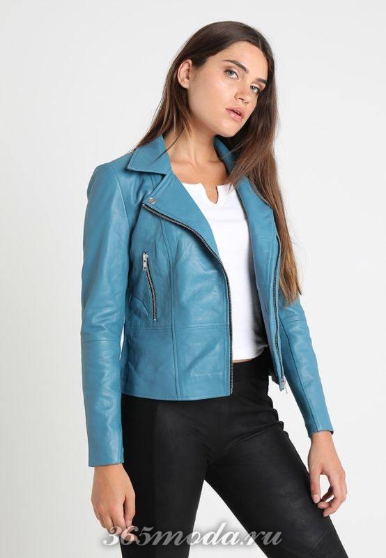 Кожаная куртка синяя