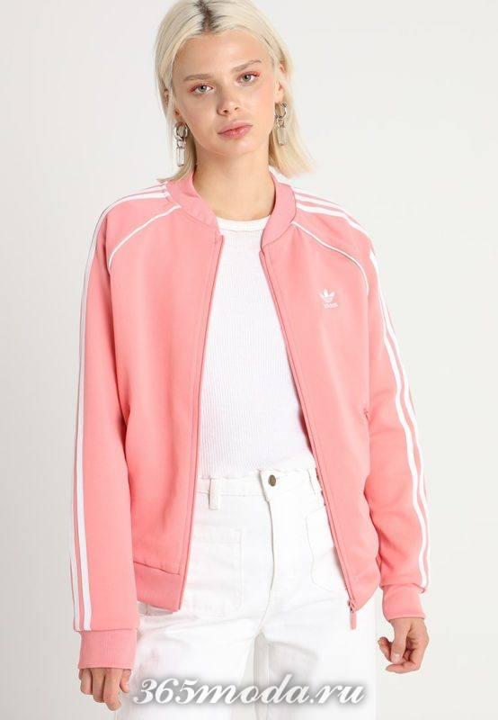 Бомбер женский розовый