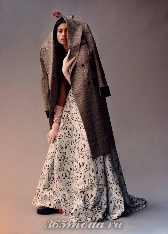 Пальто женское в клетку