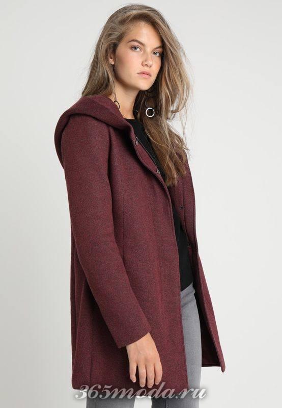 Пальто женское сиреневое