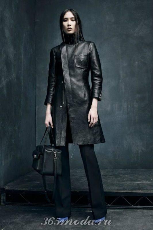 Кожаное женское пальто черное
