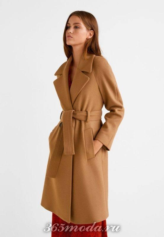 Пальто женское коричневое