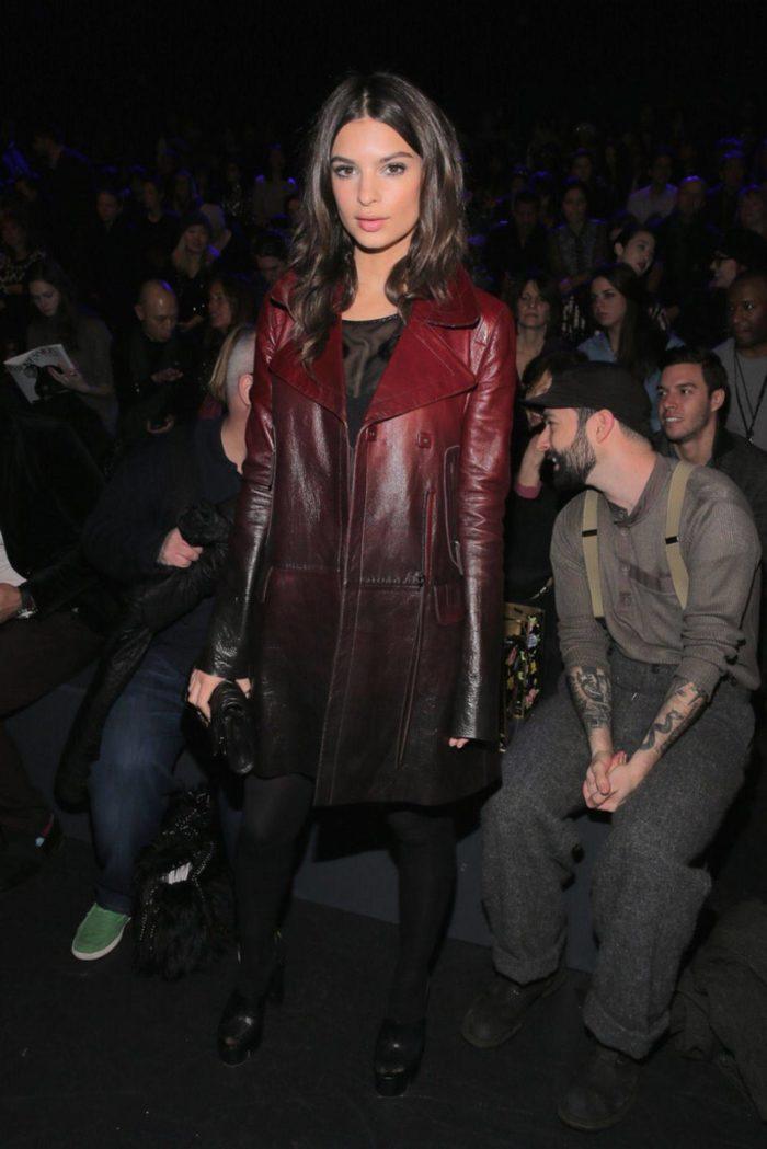 Кожаный плащ женский черный с коричневым
