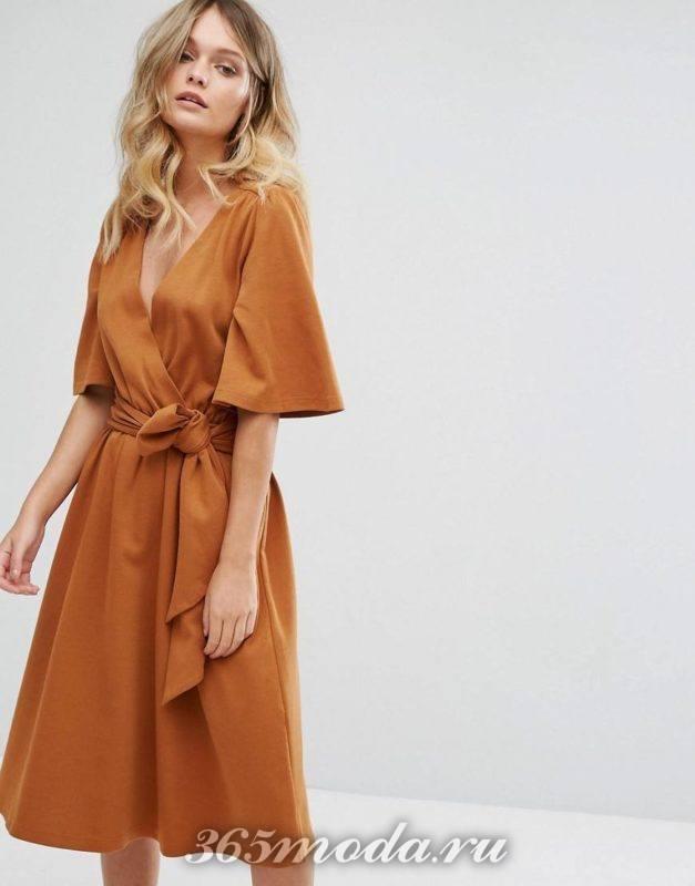 Модное повседневное платье с запахом весна-лето 2018