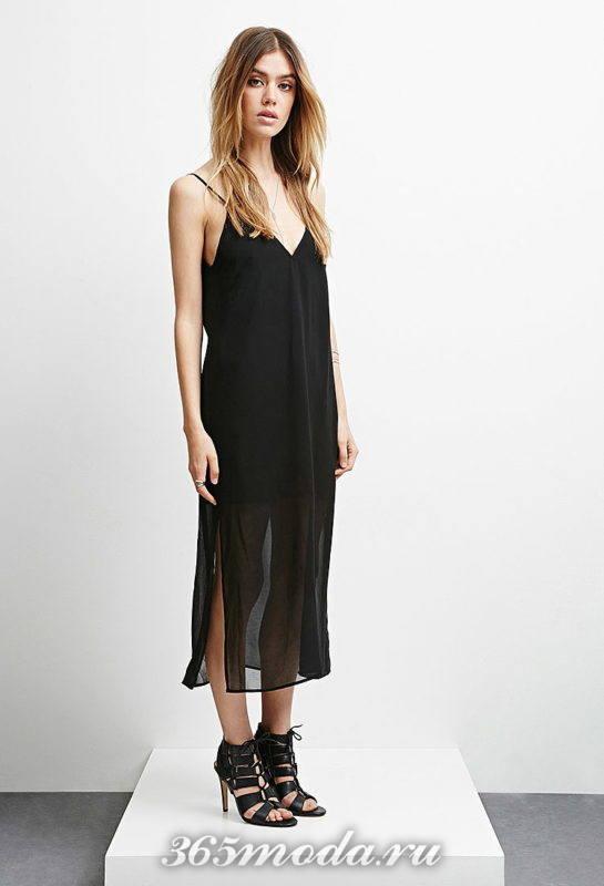 Модное платье с разрезом весна-лето 2018