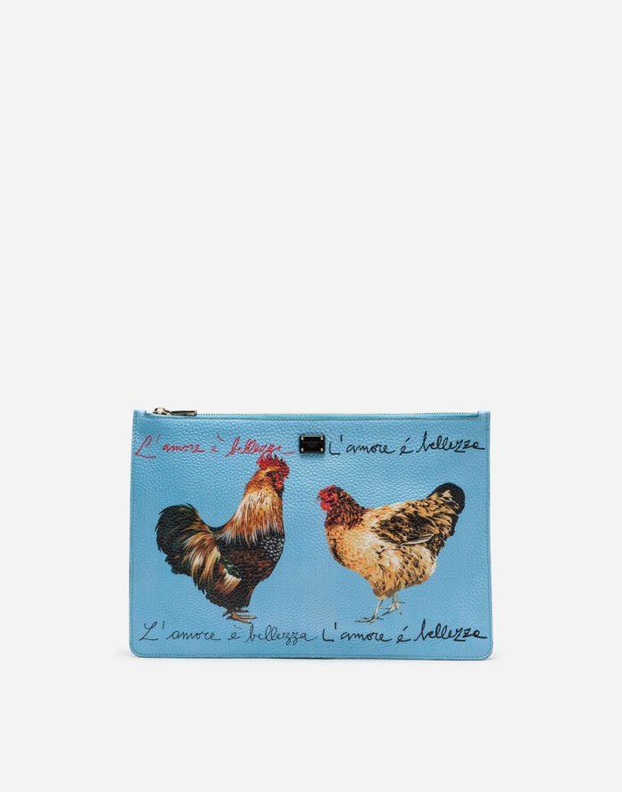 голубая принты петух и курица