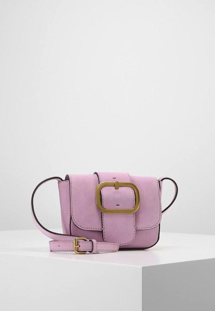 фиолетовая замшевая мини сумка