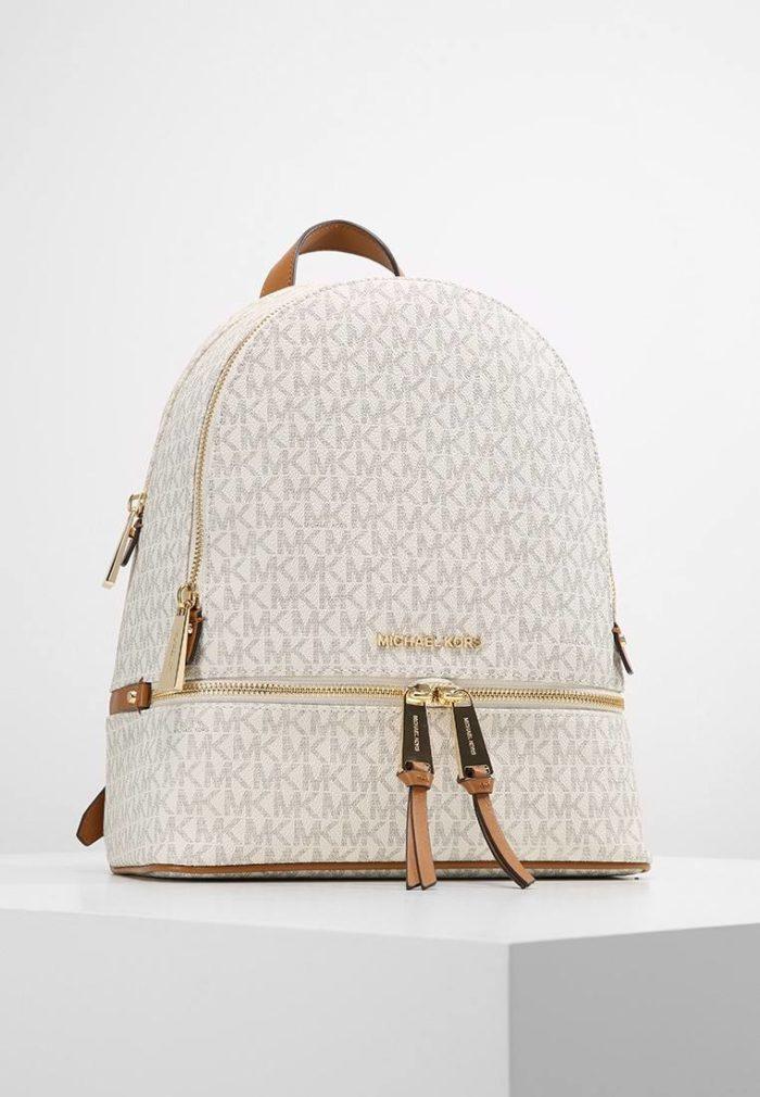 белый рюкзак с золотой молнией