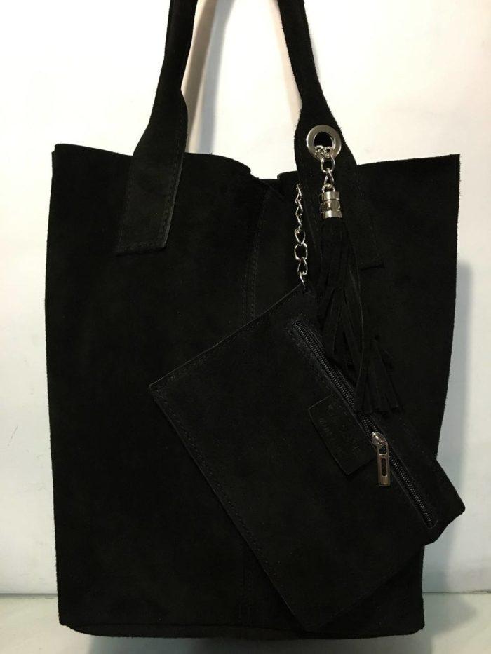 сумка-мешок замшевая черная