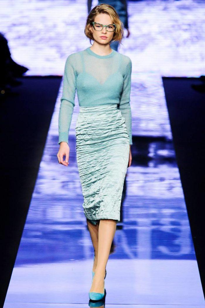 Юбка и блузка цвета Перламутрово-бирюзовый