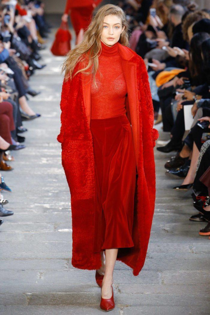 Пальто и юбка цвета Праздничный красный