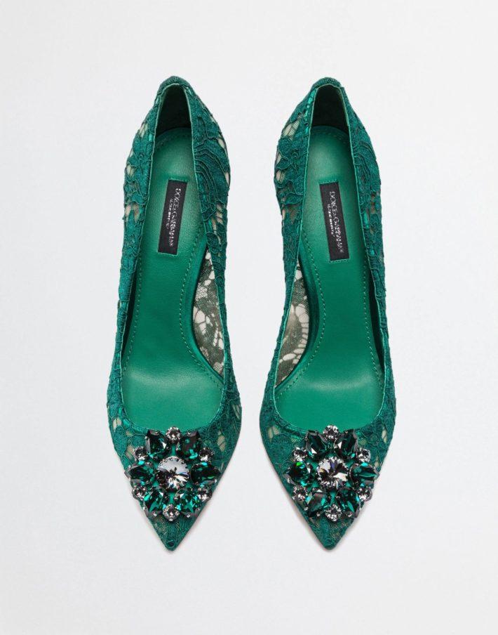 Женские туфли зеленые