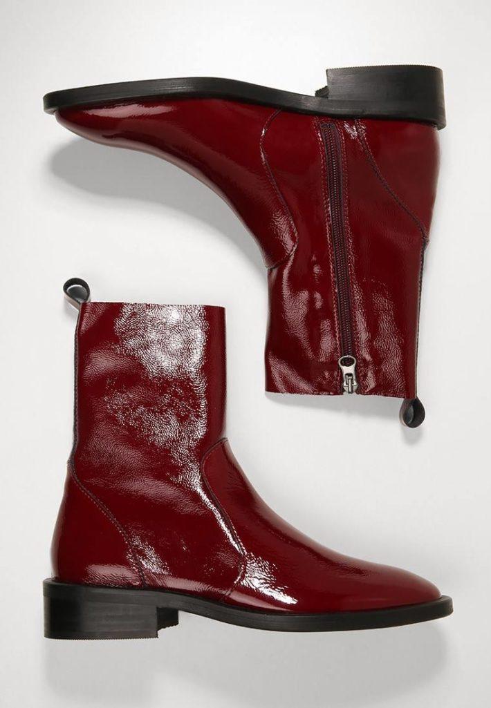 Женские ботинки бардовые