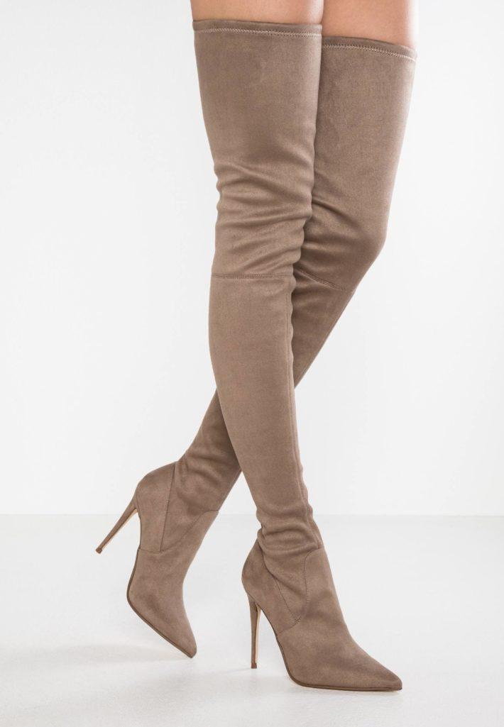 обувь осень-зима 2019-2020: ботфорты серые