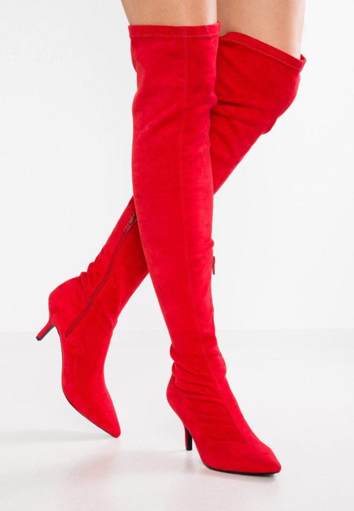 обувь осень-зима 2019-2020: ботфорты красные
