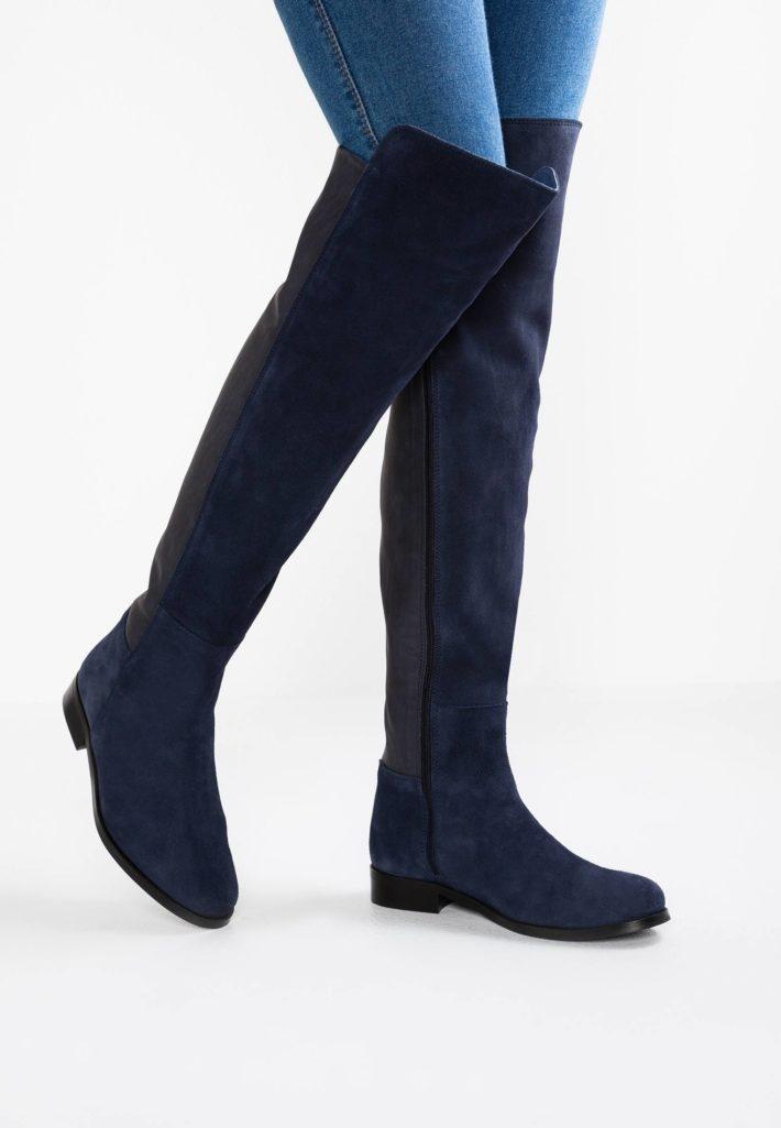 обувь осень-зима 2019-2020: ботфорты синие