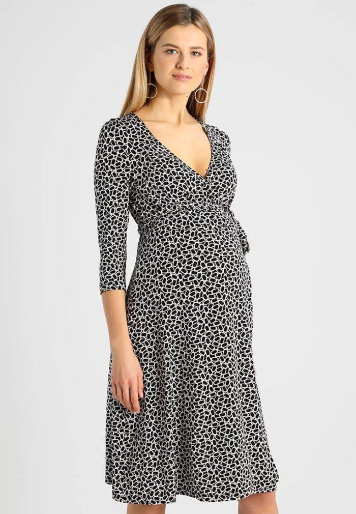 Платье для беременных черно-белое