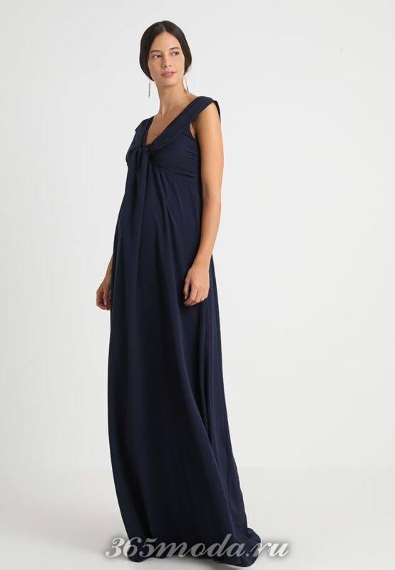 Вечерне синее платье для беременных