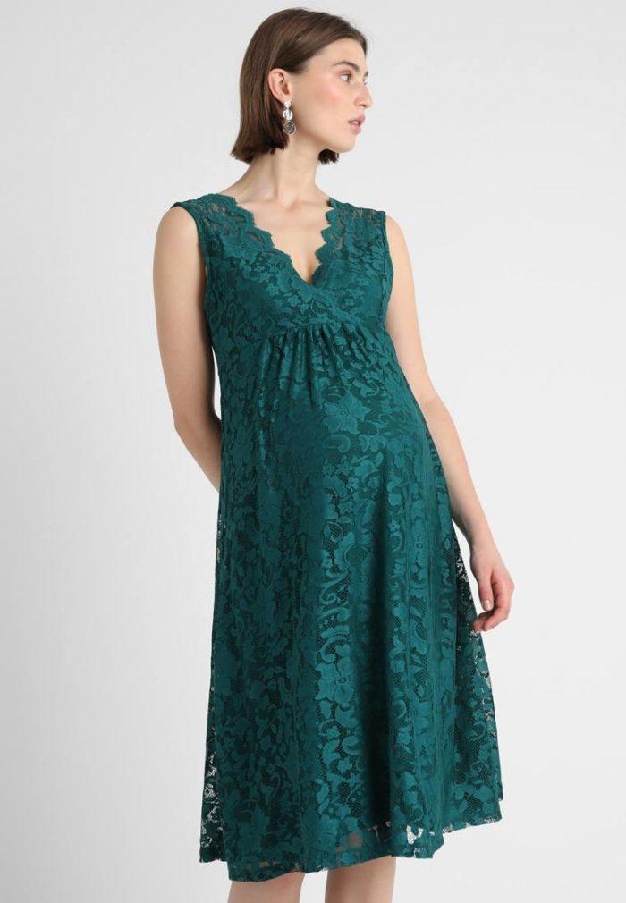 Вечерне зеленое платье для беременных