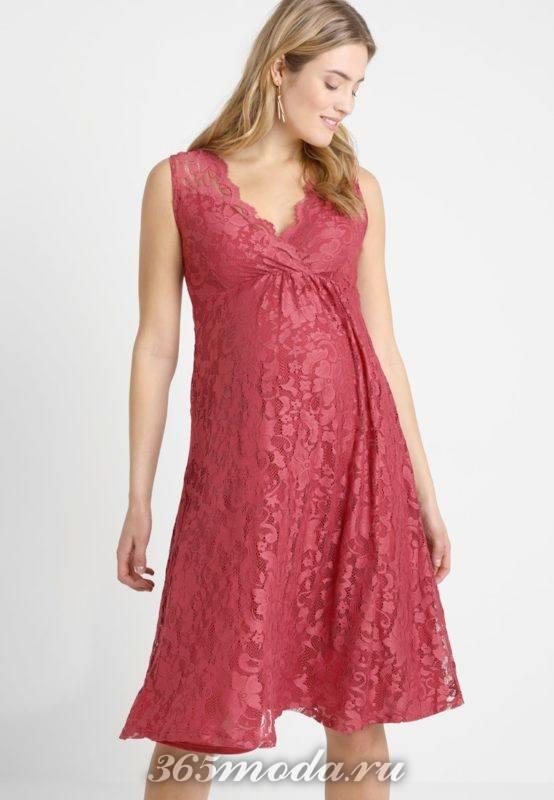 Вечерне розовое платье для беременных