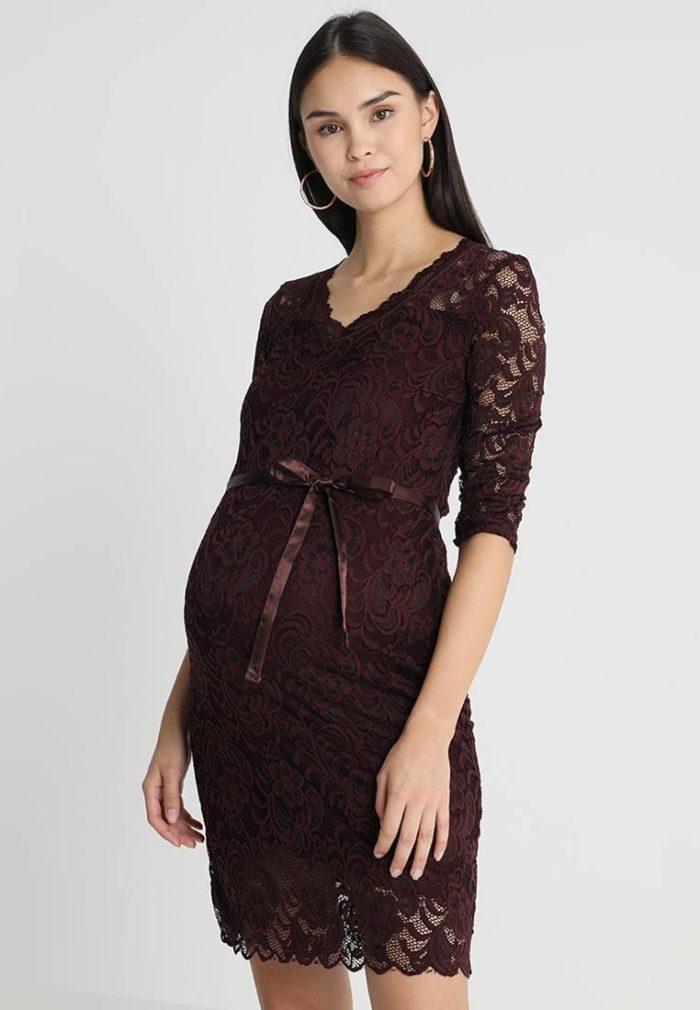 Вечерне коричневое платье для беременных