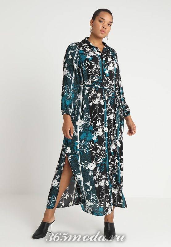 Цветастое платье средней длины