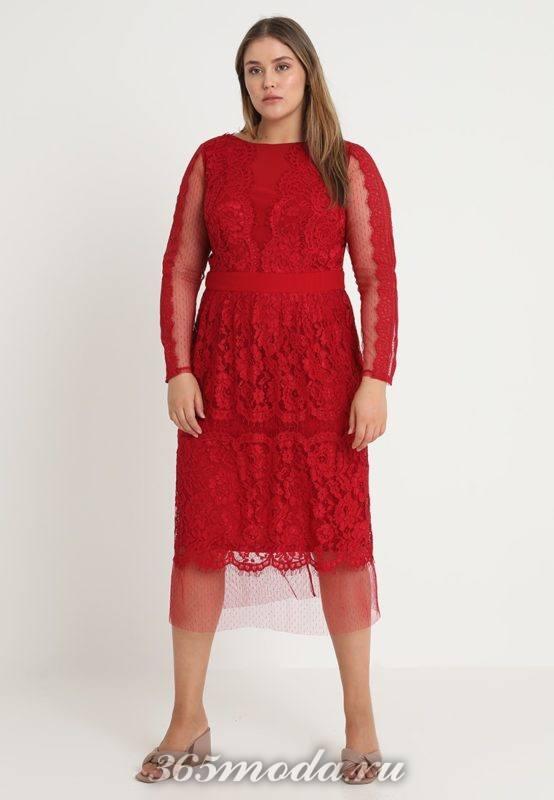Платье красное средней длины