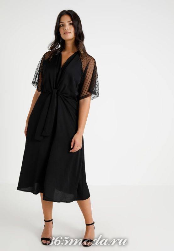 Платье черное средней длины