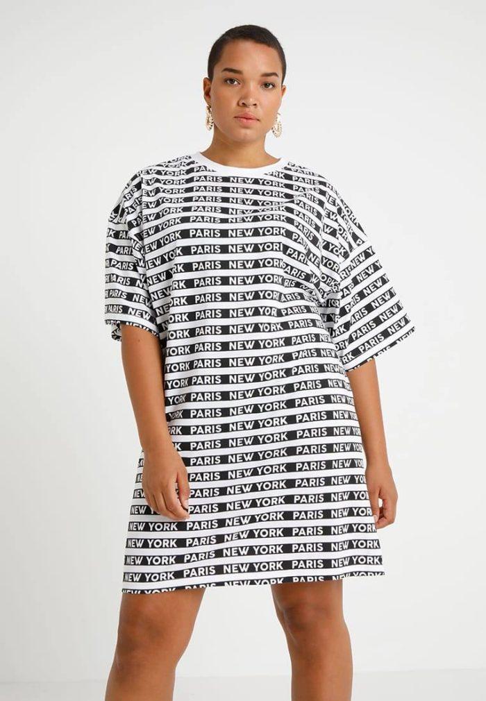 Платье черное белое мини