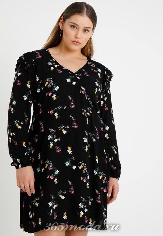 Черное платье в цветок миди