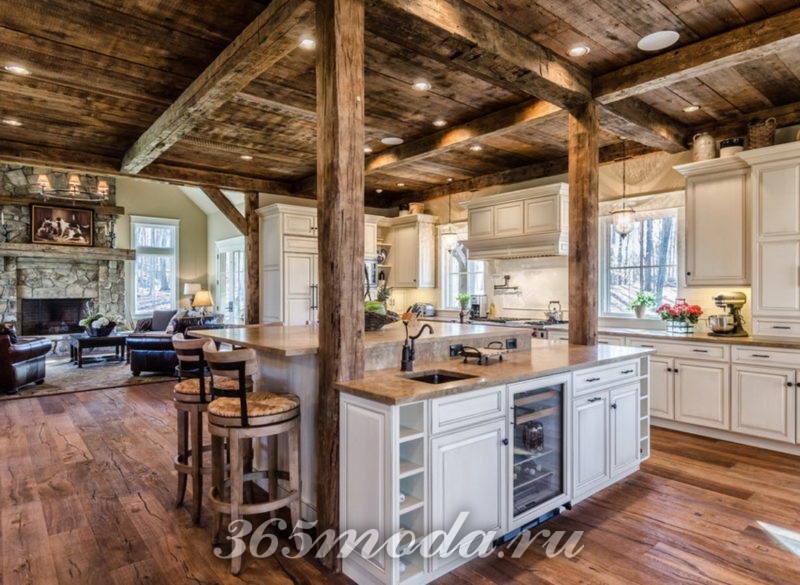 Кухня в охотничьем домике