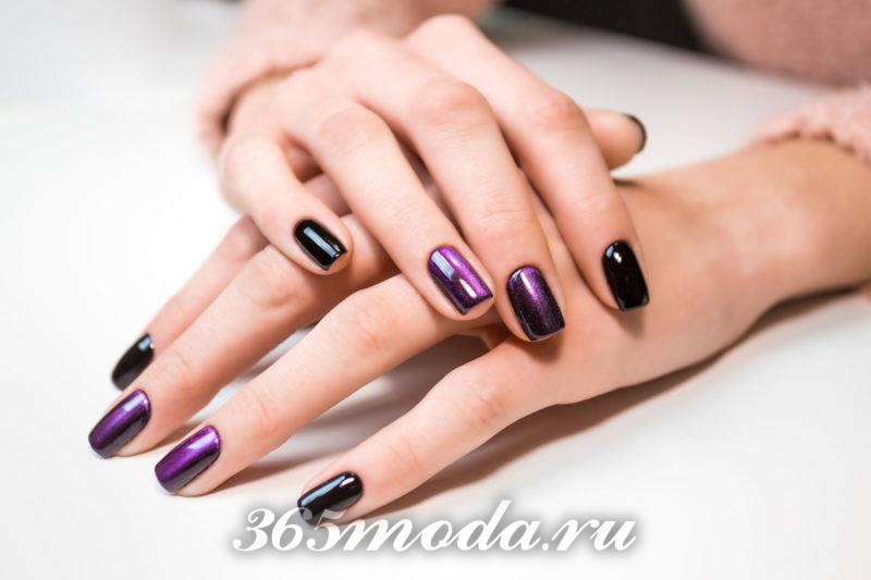 Фиолетовый дизайн ногтей шеллаком