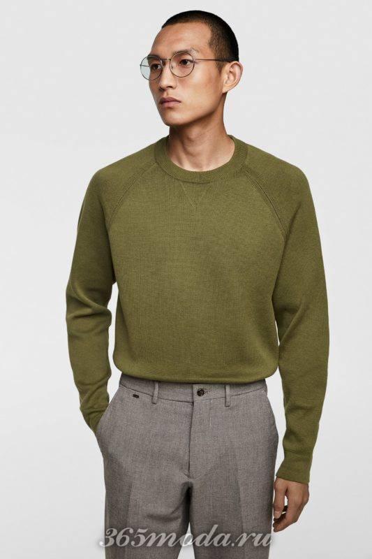 Мужской свитер зеленый