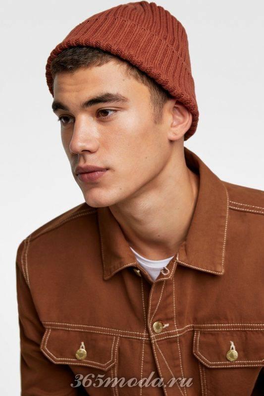 Мужская шапка коричневая