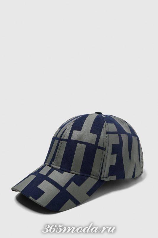 Мужская кепка синяя с серым