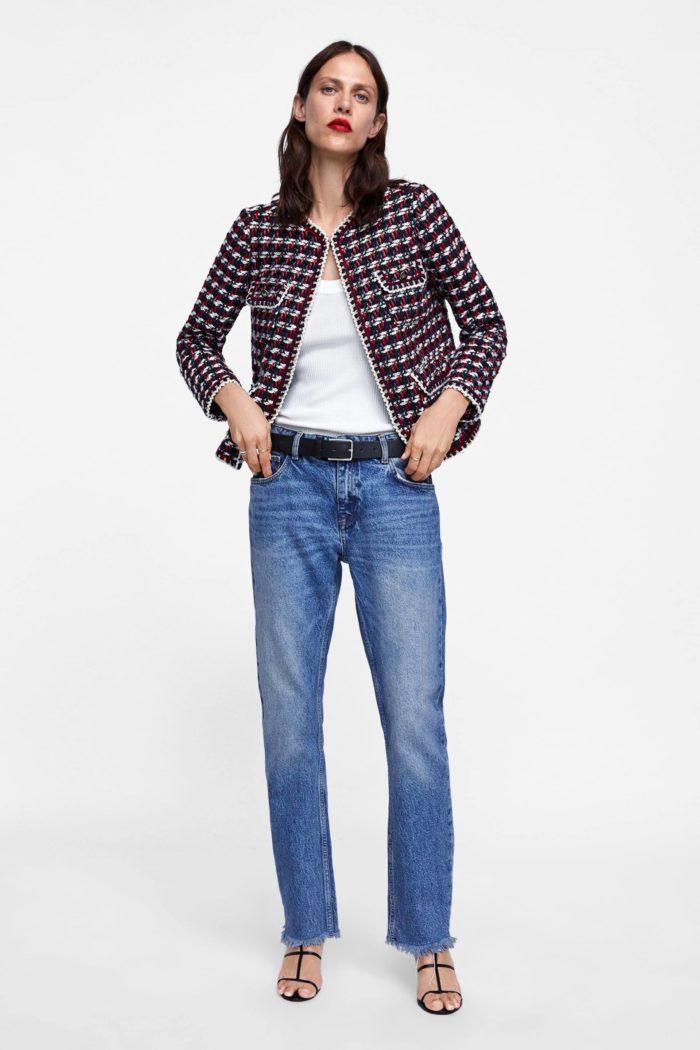 Женский клетчатый пиджак