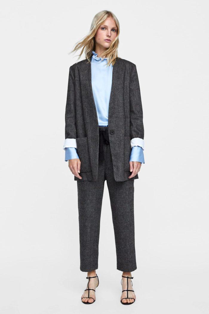 серый пиджак короткие рукава