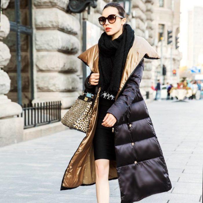 Модные пуховики осень-зима 2019-2020: длинный черный